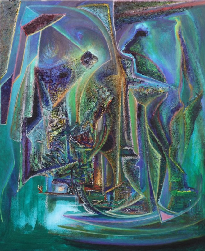 Title Deep Green Dream Medium Acrylic Size 42'x36'
