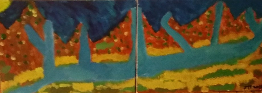 Title Valley Medium Acrylic on canvas Size 16 x 20 inches , 2 pieces