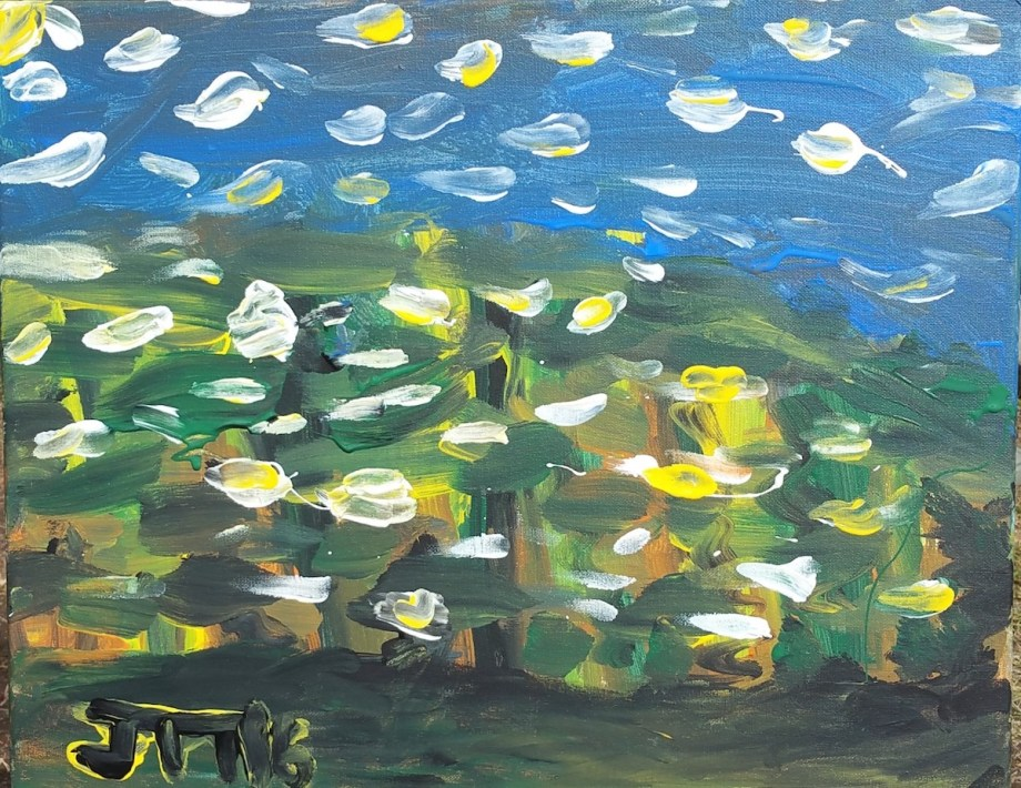 Title Comic Ocean Medium Acrylic on canvas Size 16 x 20 inches