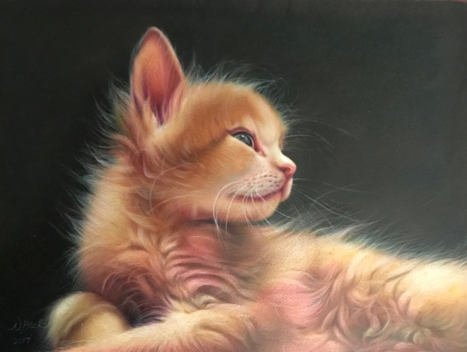 "Title Blossom as a Kitten Medium Colored Pencil Size 14"" x 18"""