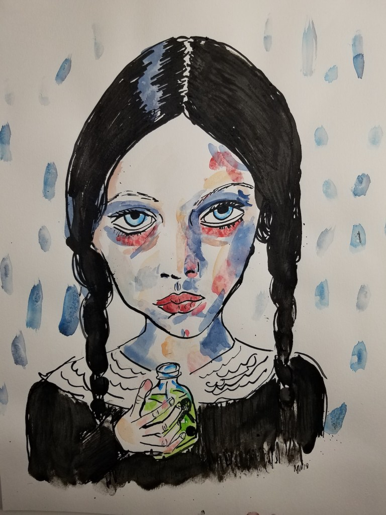 Title Poison drinker Medium Watercolor and Indian ink Size 11x14