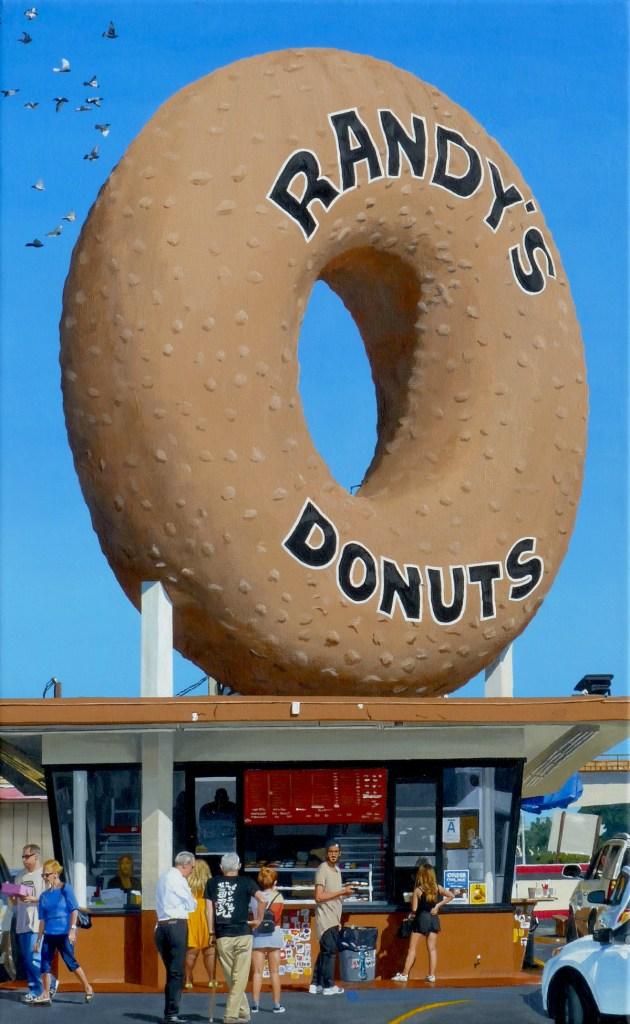 "Title Randy's Donuts Medium acrylic Size 16"" x 26"""