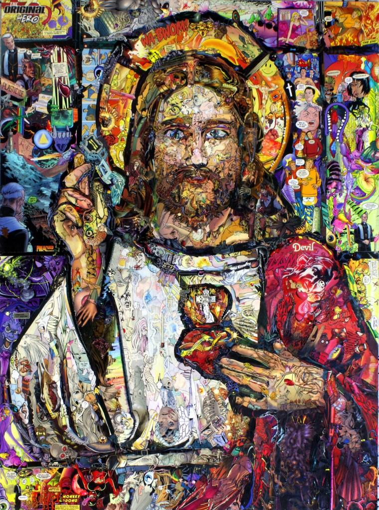 Title Jesus H. Christ - The Original Hero Medium Comic Book Pieces on Woodboard Size ~3' x 2'