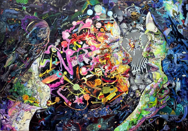 """Title Inward Reflection (Finding the pure self) Medium Comicbook pieces on recycled wood board Size 25"""" x 35.5"""""""