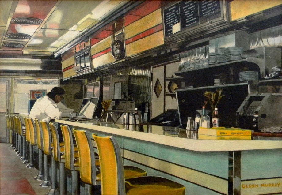 "Title The Corner Diner Medium Acrylic on Canvas Size 26.5"" x 18.5"""