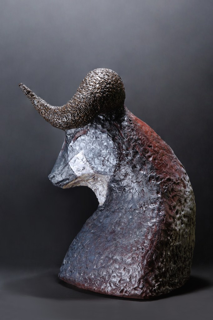Title Minotaur Medium Mixed media, steel, concrete, enamel paint Size 26,7 H x 22 W x 20 in