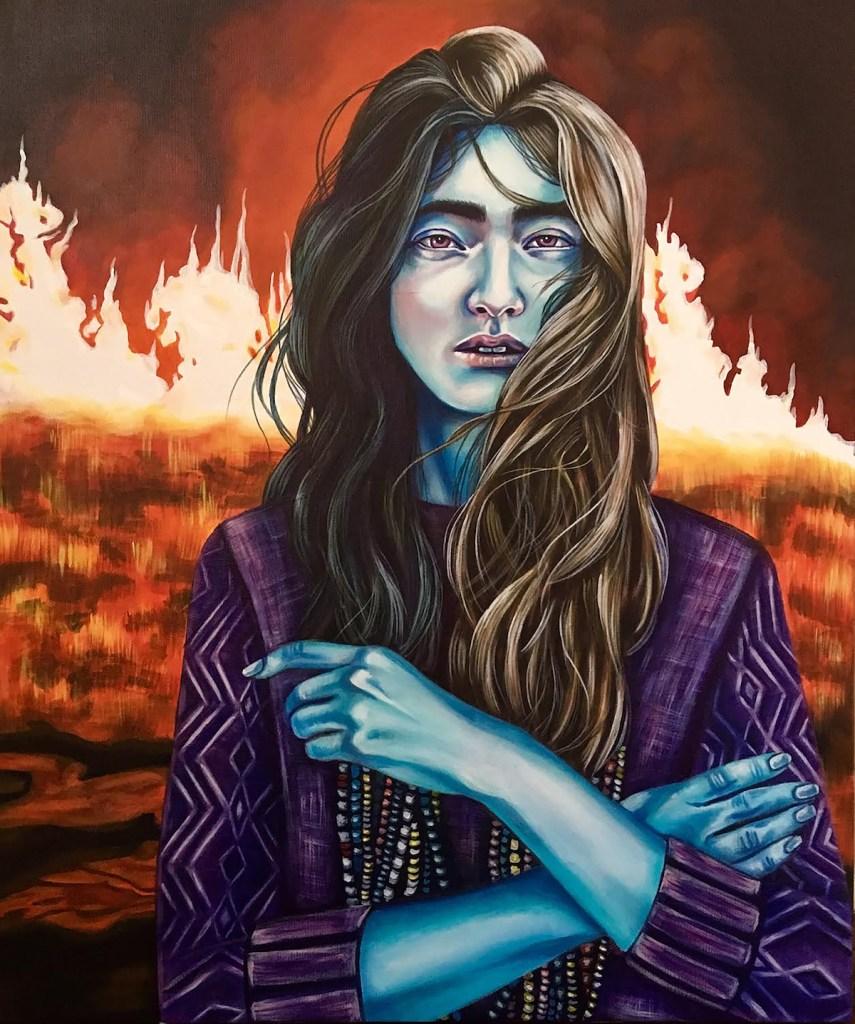 "Title Fire Medium acrylic on canvas Size 24"" x 36"""