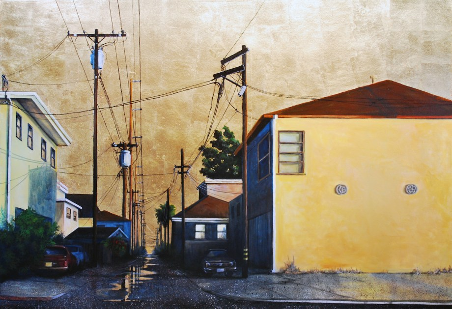 Title Golden Sunshine Alley Medium Acrylic and Gold Leaf Size 50 x 72 in.
