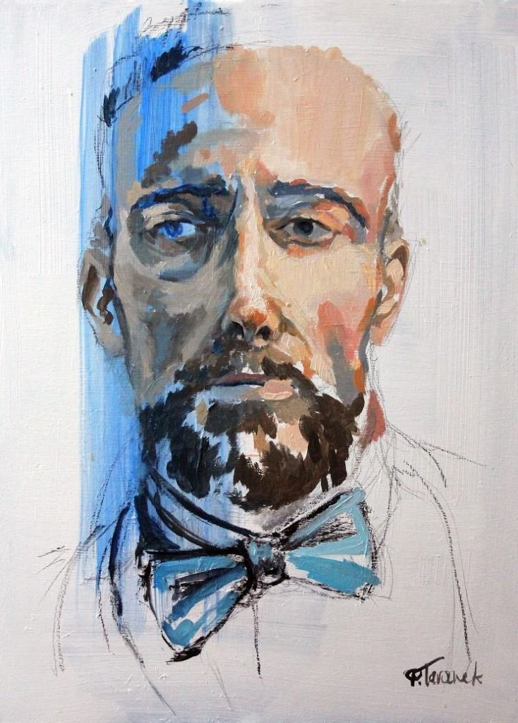 Title Bow tie Medium oil on canvas, charcoal, graphite Size 24,02 x 18,11 inch