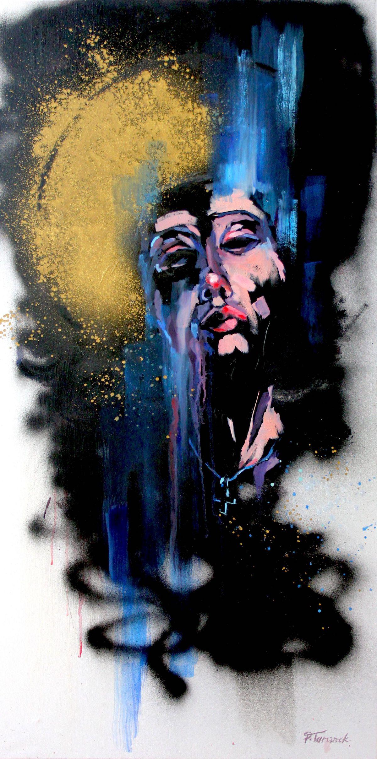 Title Saint II Medium oil on canvas, graffiti paints Size 39,37 x 19,69 inch