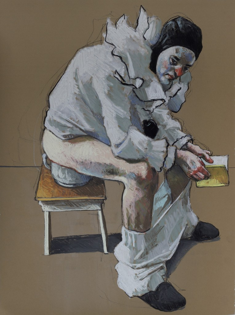 "Title ""Pierrot Reading"" Medium russian clay. charcoal and pastel Size 22x30"