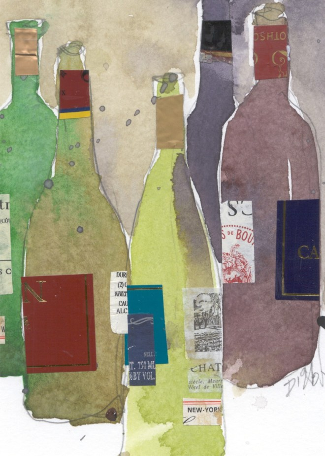 """Title Wine Moment Medium Watercolor and mixed medium Size 5"""" x 7"""""""