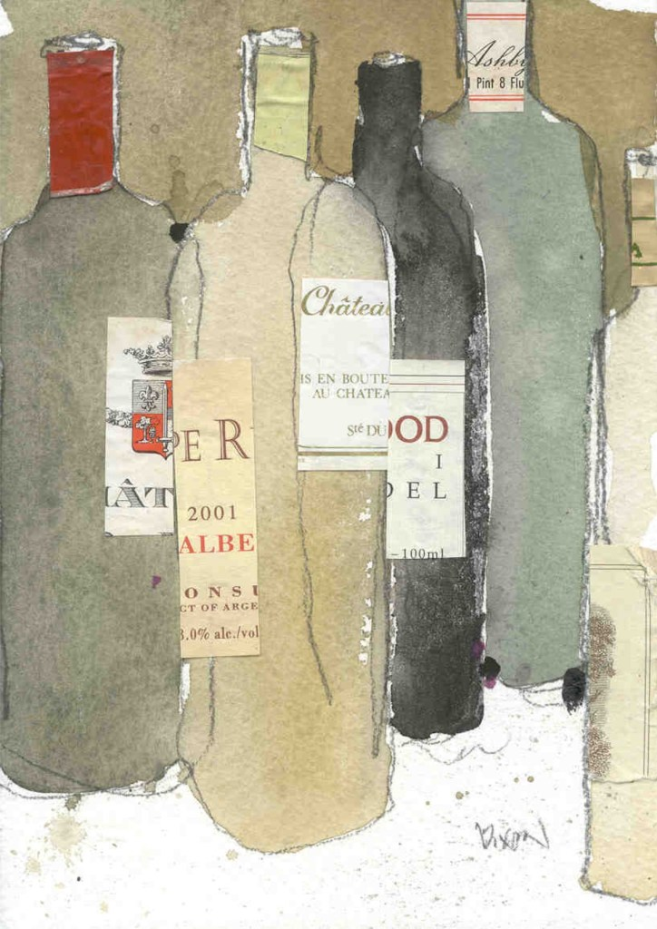 "Title After the Dinner Party Medium Watercolor amd mixed medium Size 5"" x 7"""