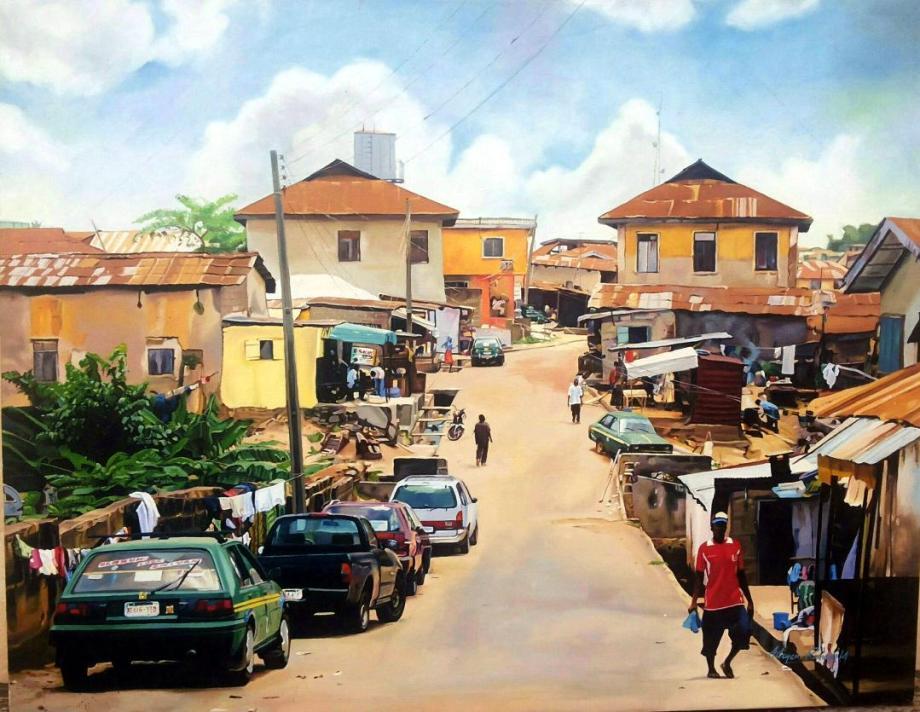 Title Neighbourhood Medium Oil on Canvas Size 76x61 cm
