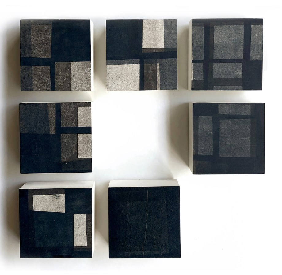 "Title Color Reflection II Medium Monoprint mounted on 4"" x 4"" wood panels Size 13.5"" x 13.5"""