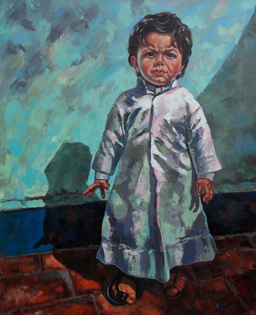 "Title ""Serious Man"" Medium Oil on Canvas Size 100 x 80 cm"
