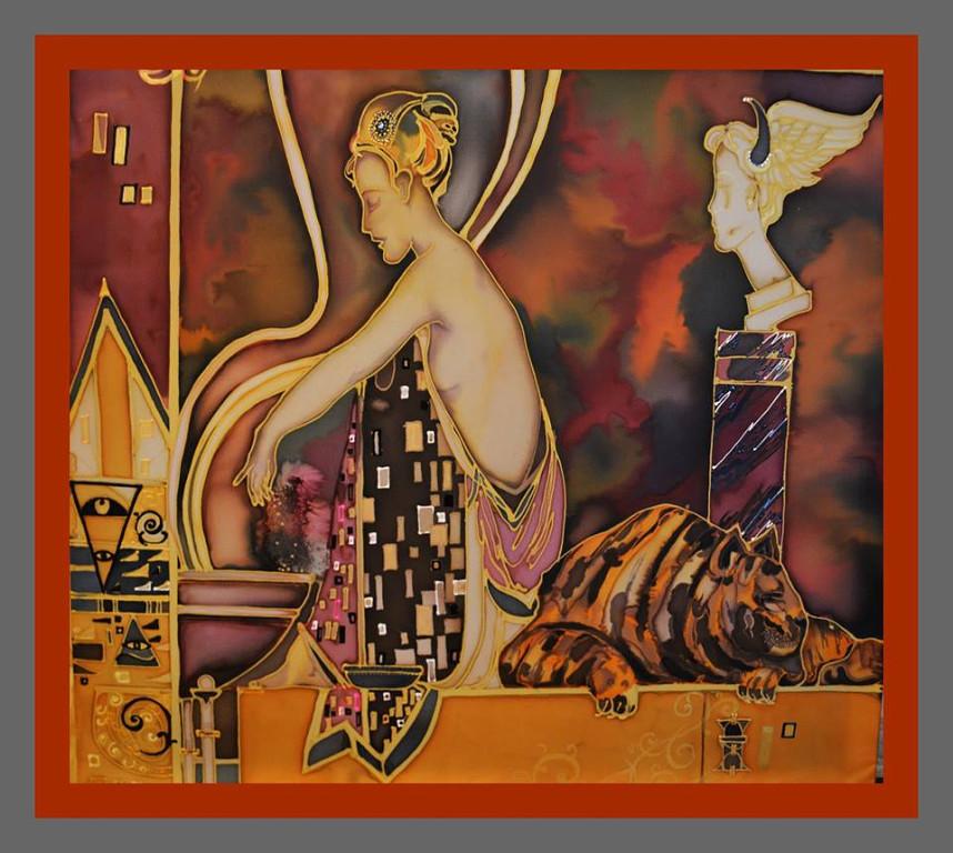 Title DREAM Medium Painting on silk,batik,mixed media Size 38x38 inch