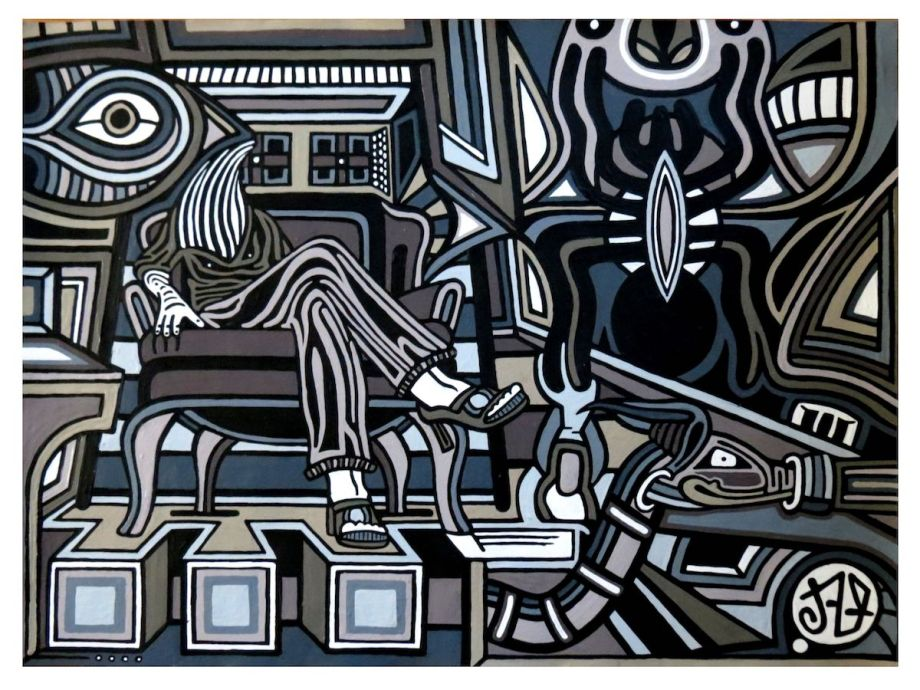 """Title Synaptica Junction Medium Acrylic on Board Size 28""""x22"""""""