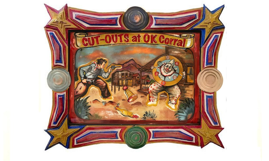 "Title Cut-Outs at OK Corall Medium Acrylic on Paper with Copper Penny with Carved Wood Custom Art Frame Size 42"" x 34"""