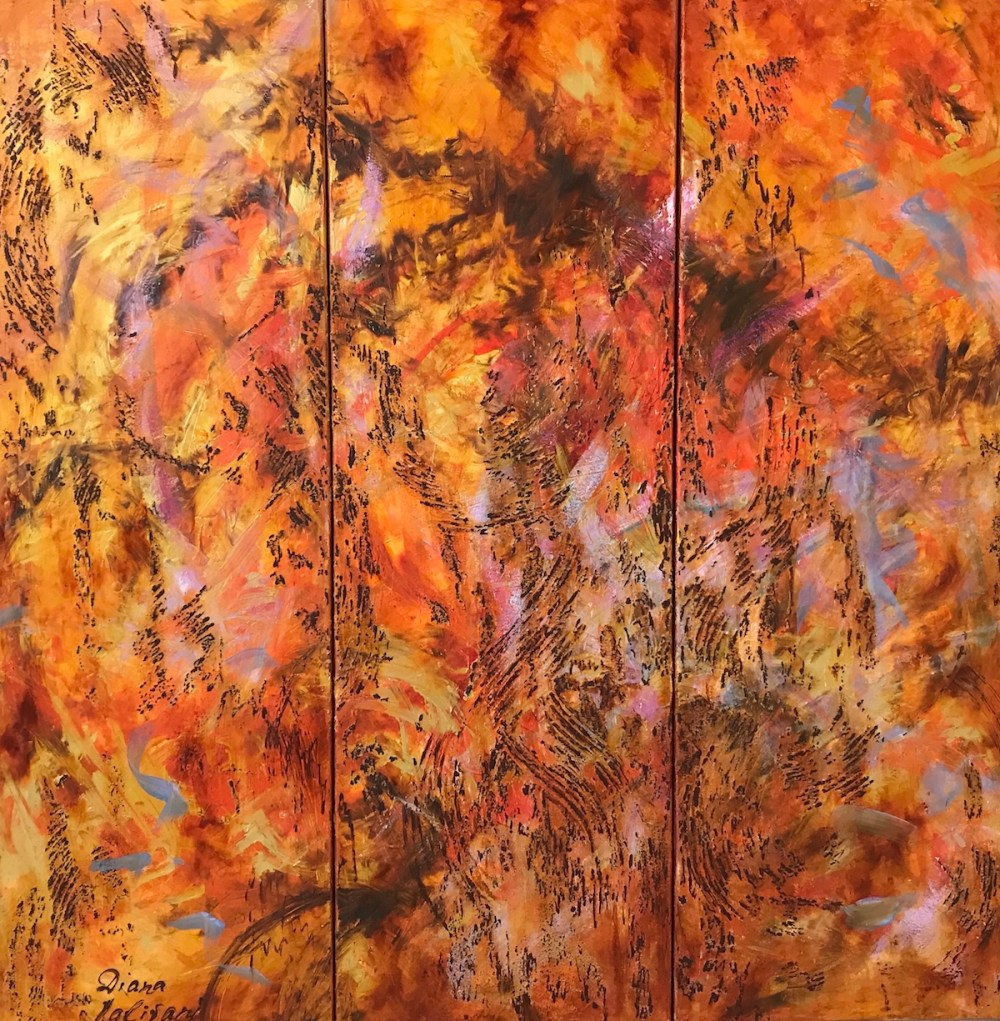 "Title Waltz of Flowers. Triptych (Art Project ""Seeing Music"") Medium oil on canvas, texture paste Size 35.40"" by 35.40"""