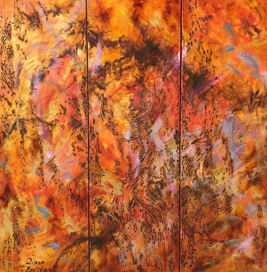 """Title Waltz of Flowers. Triptych (Art Project """"Seeing Music"""") Medium oil on canvas, texture paste Size 35.40"""" by 35.40"""""""