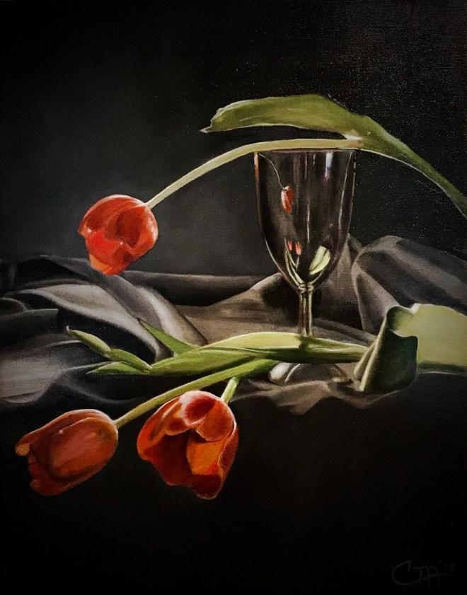 Title Tulip Tango Medium Oil on Canvas Size 14x18