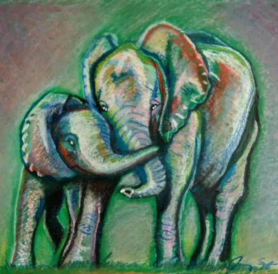 "Title Elephant Love Medium Oil pastel Size 19"" X 25"""