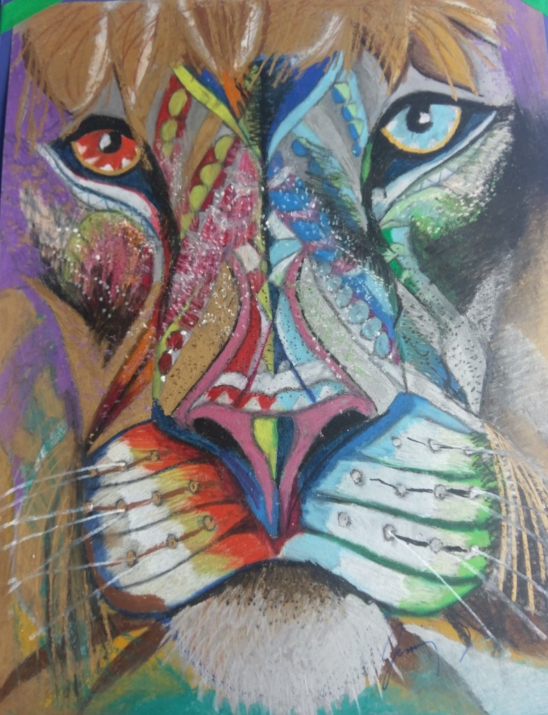"Title Asian Lion Medium Oil pastel Size 19"" X 25"""