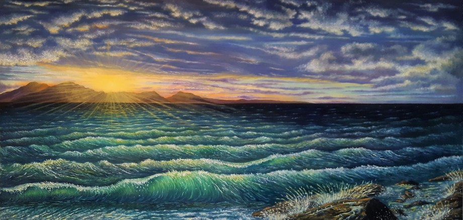"""Afterglow Medium Oil on Canvas Size 20""""H x 40""""W"""