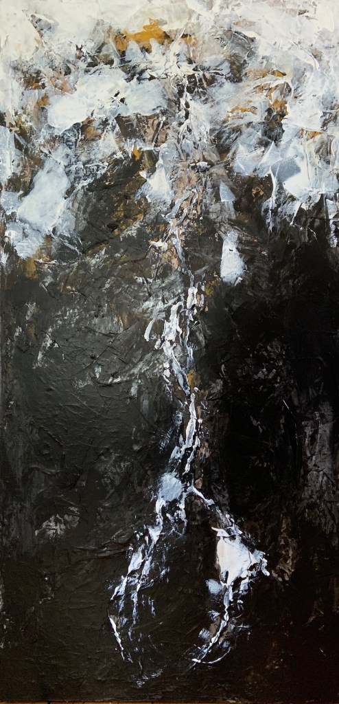 "Lunar Landscapes: Transcendental I Medium Acrylic on Canvas Size 48"" H x 24"" W"