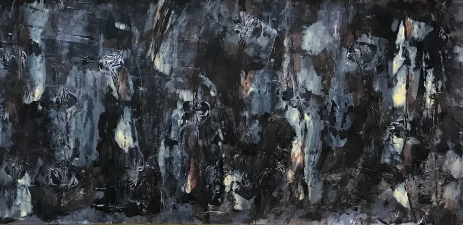 "Lunar Landscapes: Am I Here Alone? Medium Acrylic on Canvas Size 48""L x 18"" H"