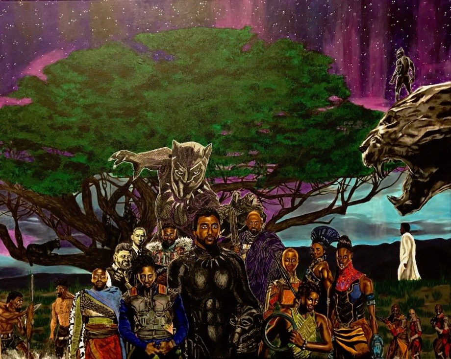 """Wakanda Forever Medium Acrylic on Canvas Size 30x24"""" (WxH)"""