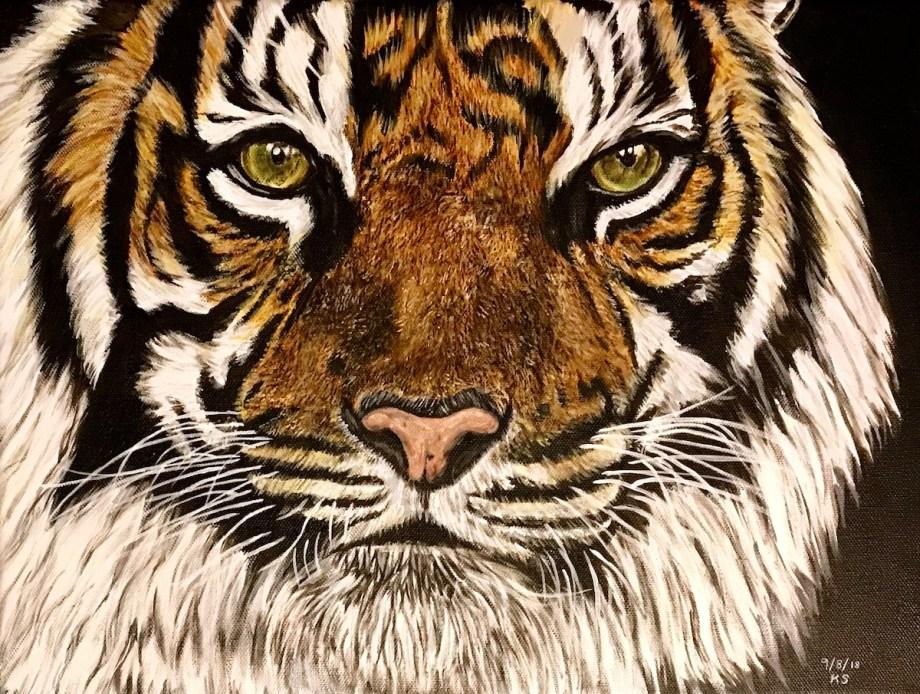 """A Tiger's Soul Medium Acrylic on Canvas Size 16x12"""" (WxH)"""