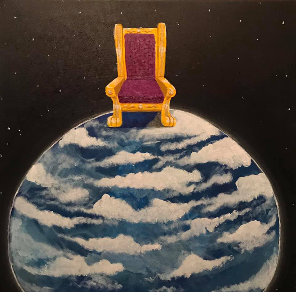 The world is yours Medium acrylic on canvas Size 20 inches by 20 inches