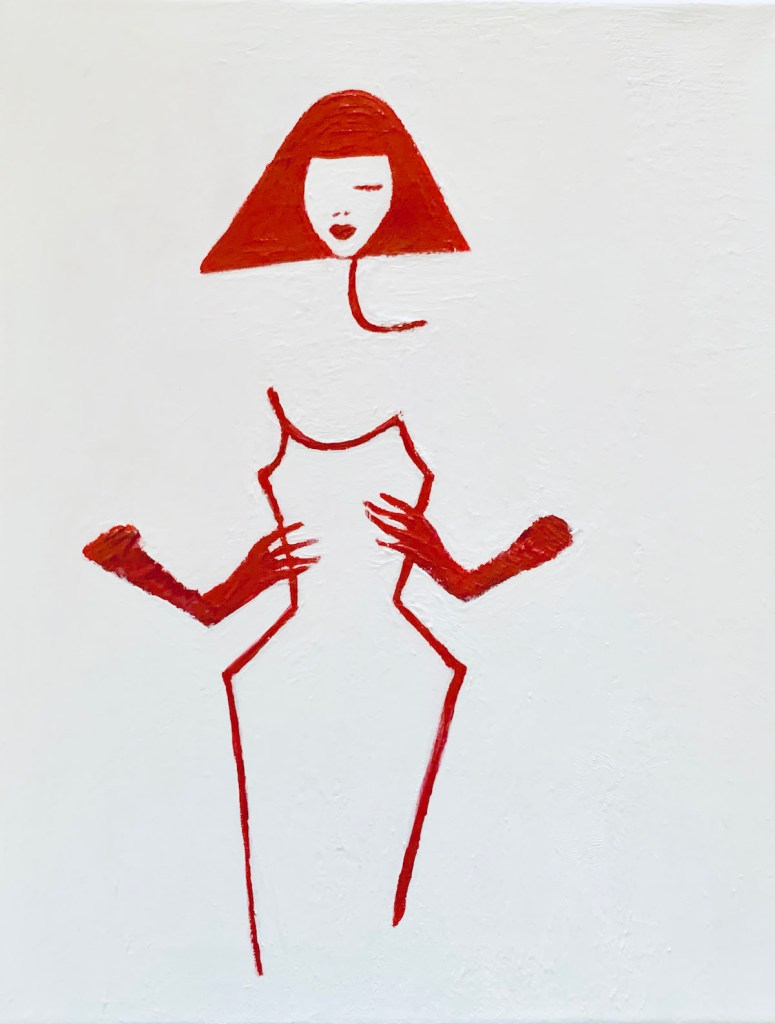 The Woman with the Red Gloves Medium Acrylic on Gesso Board Size 12x12