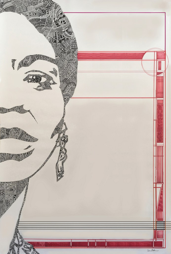 Nina Simone Medium Pen, brush, India ink, and acrylic on paper Size 3 ft X 6 ft