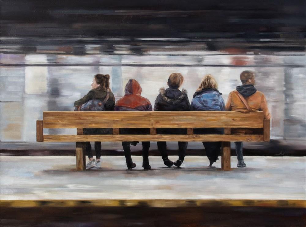 "Waiting Medium Oil on Canvas Size 41""x55"""