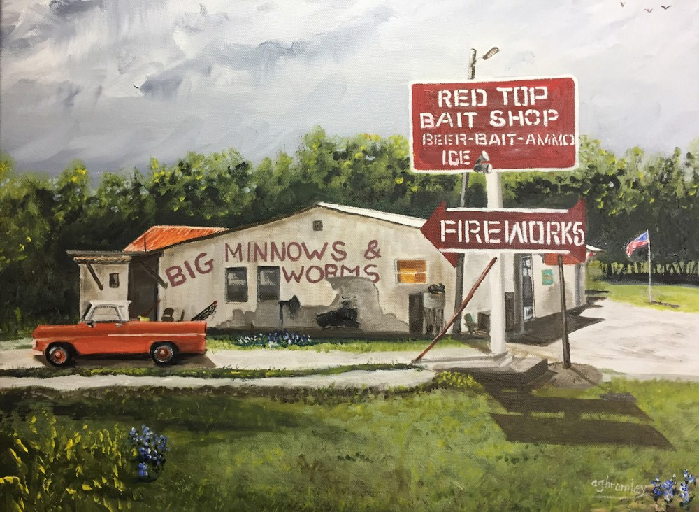 Red Top Bait Shop Medium Oil on canvas Size 16x20""