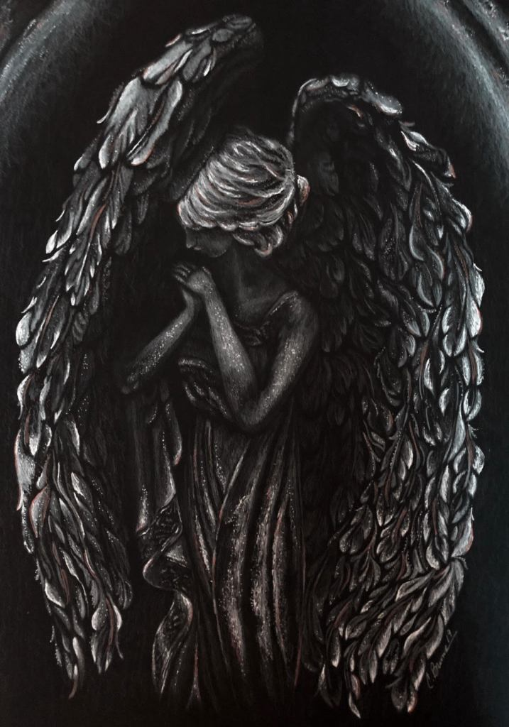 BLESSED Medium White Colored Pencil & White & Metallic Ink on Black Bristol Paper Size 12