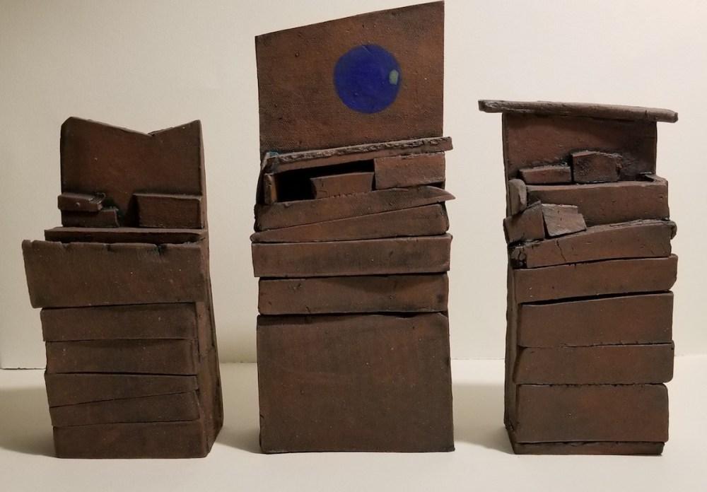 Triptych Altars to the Blue Moon Medium Hand Built Ceramics Size 2743 x 1908