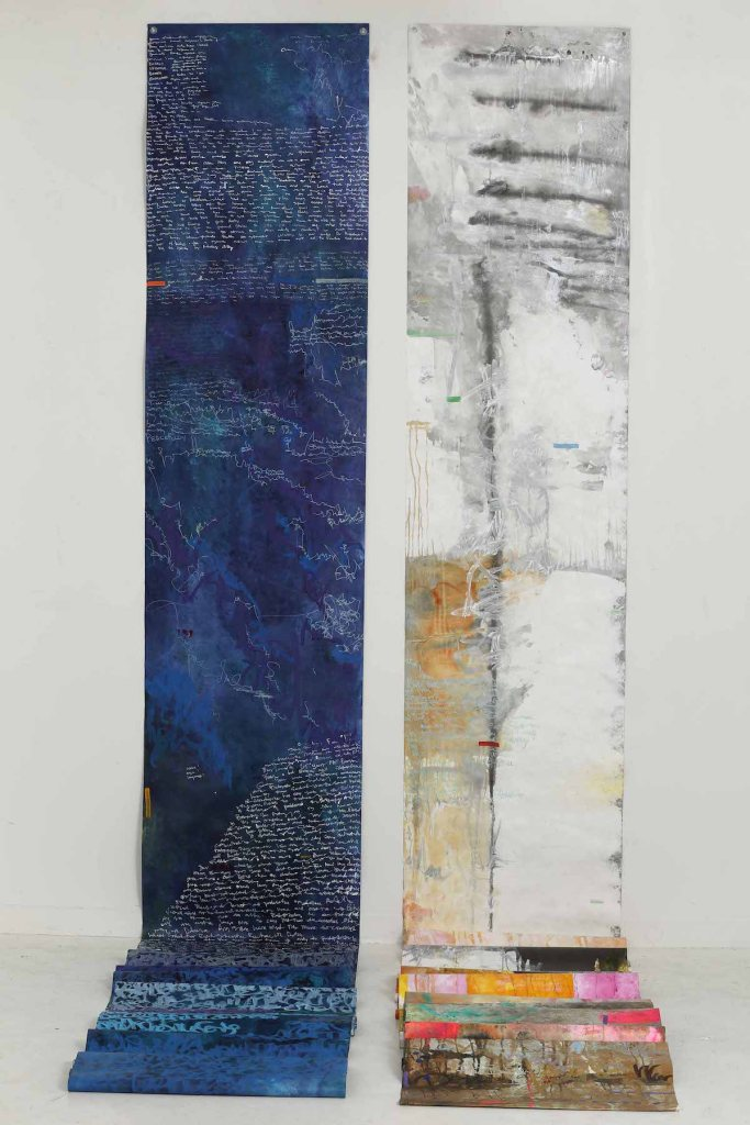 "Inspired by Thunder Bay for Duluth Medium Acrylic on Tyvek® Size Diptych 510"" by 30"" (left), 508.5"" by 30"" (right)"