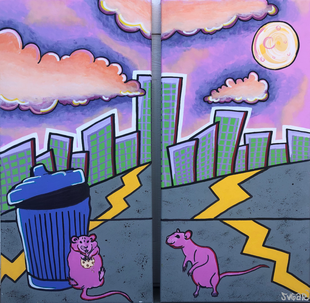 One Mans Trash Medium Acrylic on Canvas Size 12x24 (set of two)