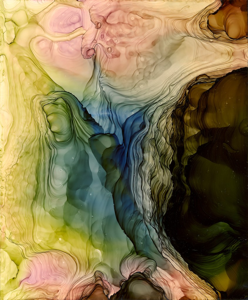 """Into the depth Medium Pigmented alcohol inks on Duralar paper Size 14""""x17"""""""