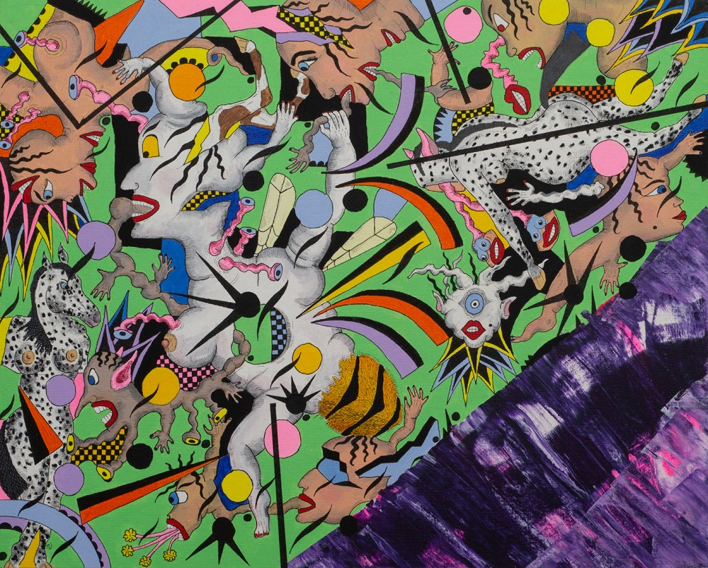 Binary Melt Medium Acrylic and ink pen Size 20 inches x 16 inches