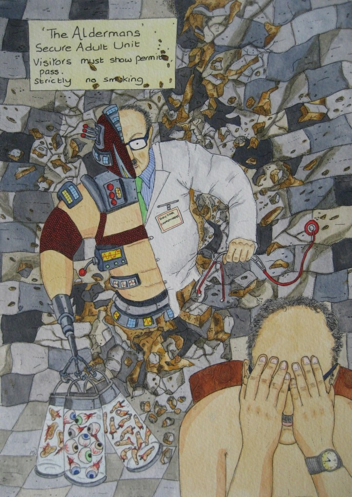 Dr Humphrey's Meltdown Medium Watercolor and ink Size 11 inches x 8 inches