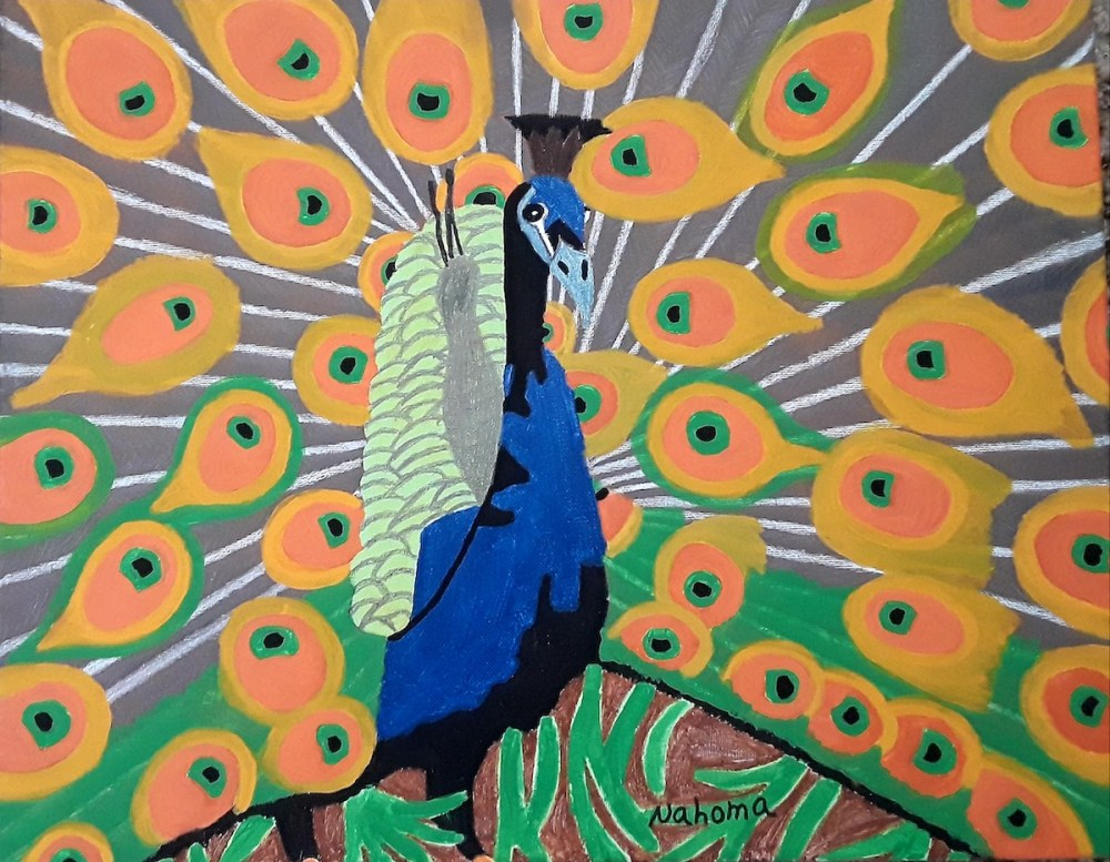 Beautiful Peacock Medium Acrylic on Canvas Size 20x16