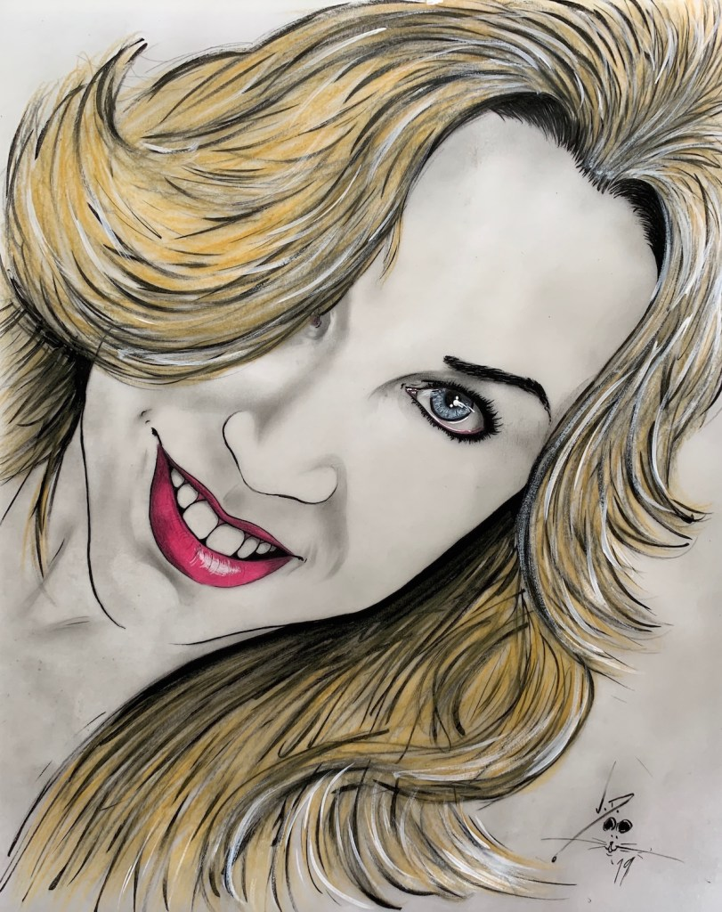 "Sandra Medium pen & ink/colored pencil/acrylic Size 11"" x 14"""