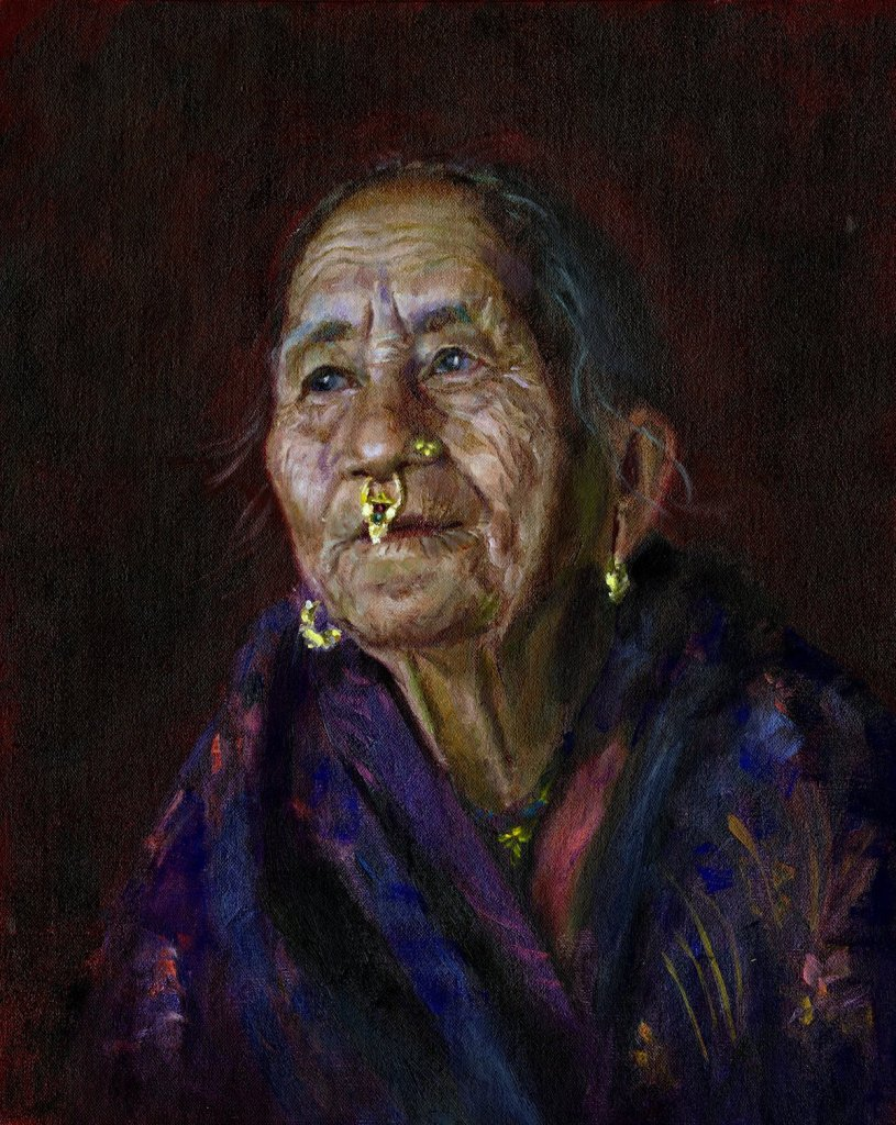 "Nepal Woman Medium Oil on Canvas Size 16"" x 20"""