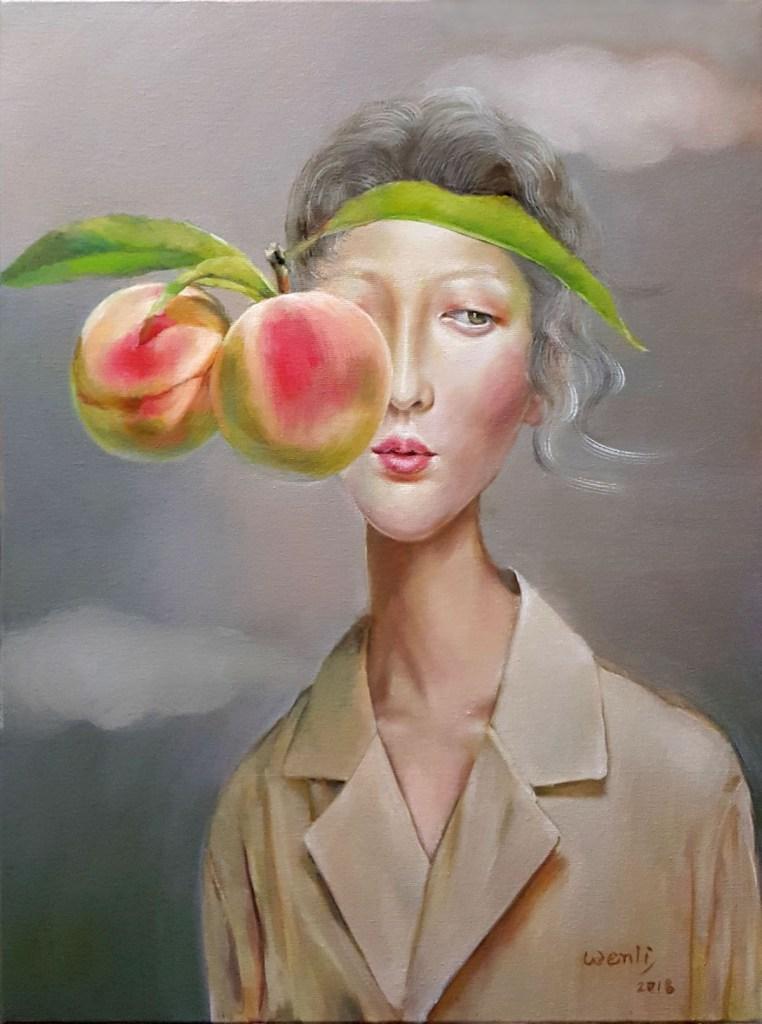 "Temptation, Pink Medium Oil on canvas Size 24""x18"""
