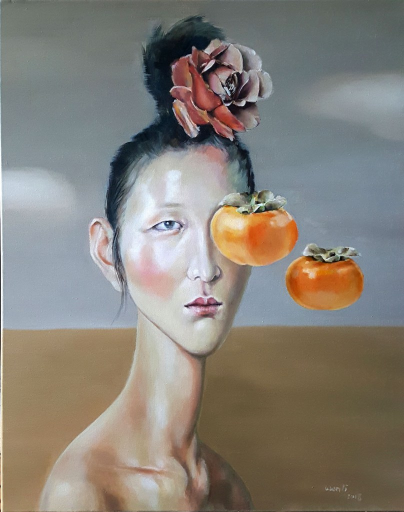 """Leaving Persimmons Medium Oil on canvas Size 28""""X22"""""""